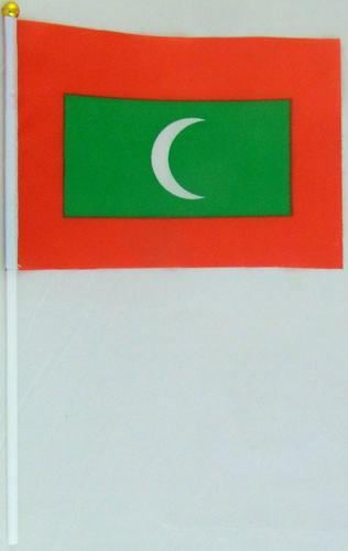 Флажок Мальдив 13x20см на пластиковом флагштоке