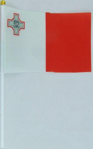 Флажок Мальты 13x20см на пластиковом флагштоке