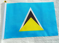 Флажок Сент-Люсии 13x20см на пластиковом флагштоке