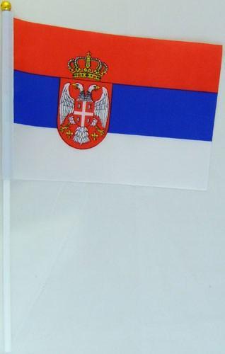 Флажок Сербии 13x20см на пластиковом флагштоке