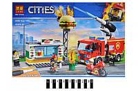 """Конструктор """"CITIES"""" """"Пожар в бургер-кафе"""" (коробка) 345дет. 11213 р.39*27*6 см. (шт.)"""