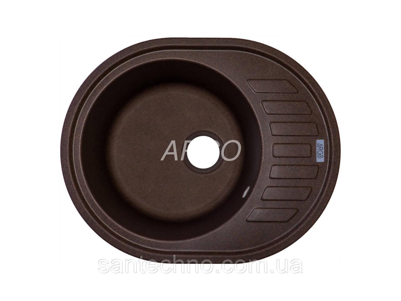 Гранитная овальная мойка для кухни Argo Ovale Mokko 620*500*200
