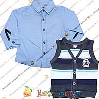 Детские рубашки с жилеткой для мальчиков от 1 до 5 лет (3627-2)