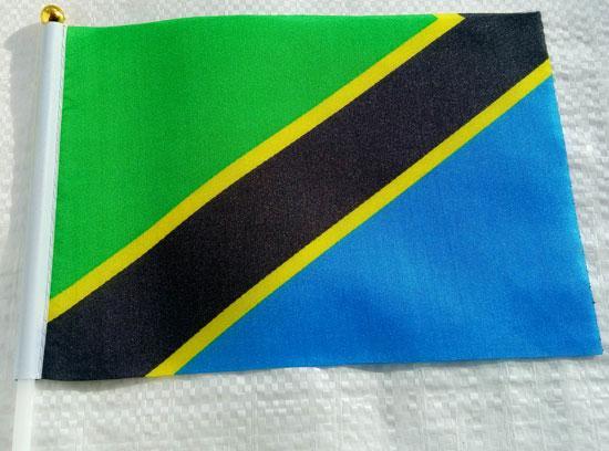 Флажок Танзании 13x20см на пластиковом флагштоке