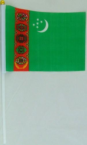 Флажок Туркмении 13x20см на пластиковом флагштоке