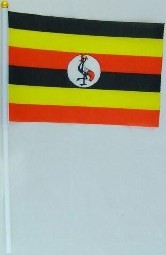 Флажок Уганды 13x20см на пластиковом флагштоке