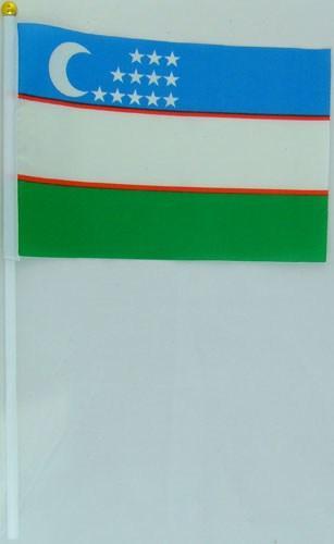 Флажок Узбекистана 13x20см на пластиковом флагштоке