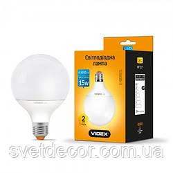 Світлодіодна лампа LED VIDEX G95e 15W Е27 3000К куля