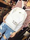 Однотонные рюкзаки молодежные с кольцами(розовый, чёрный, серый, белый), фото 6