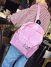 Однотонные рюкзаки молодежные с кольцами(розовый, чёрный, серый, белый), фото 8