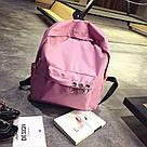 Однотонные рюкзаки молодежные с кольцами(розовый, чёрный, серый, белый), фото 3