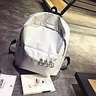Однотонные рюкзаки молодежные с кольцами(розовый, чёрный, серый, белый), фото 4