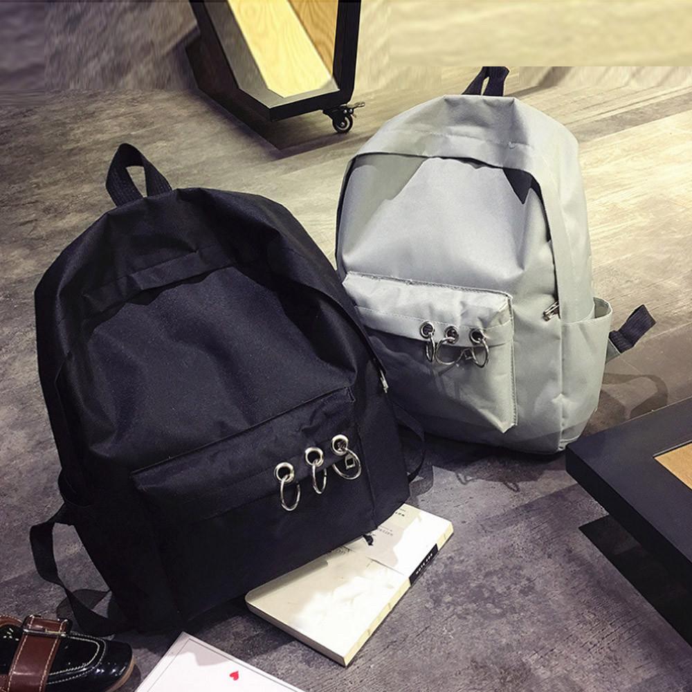 Однотонные рюкзаки молодежные с кольцами(розовый, чёрный, серый, белый)