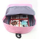 Однотонные рюкзаки молодежные с кольцами(розовый, чёрный, серый, белый), фото 9