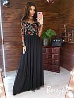 Длинное платье с расклешенной юбкой из сетки и верхом с кружевом 66mpl365Q