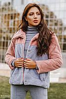 Короткая меховая куртка с воротником розово-голубая