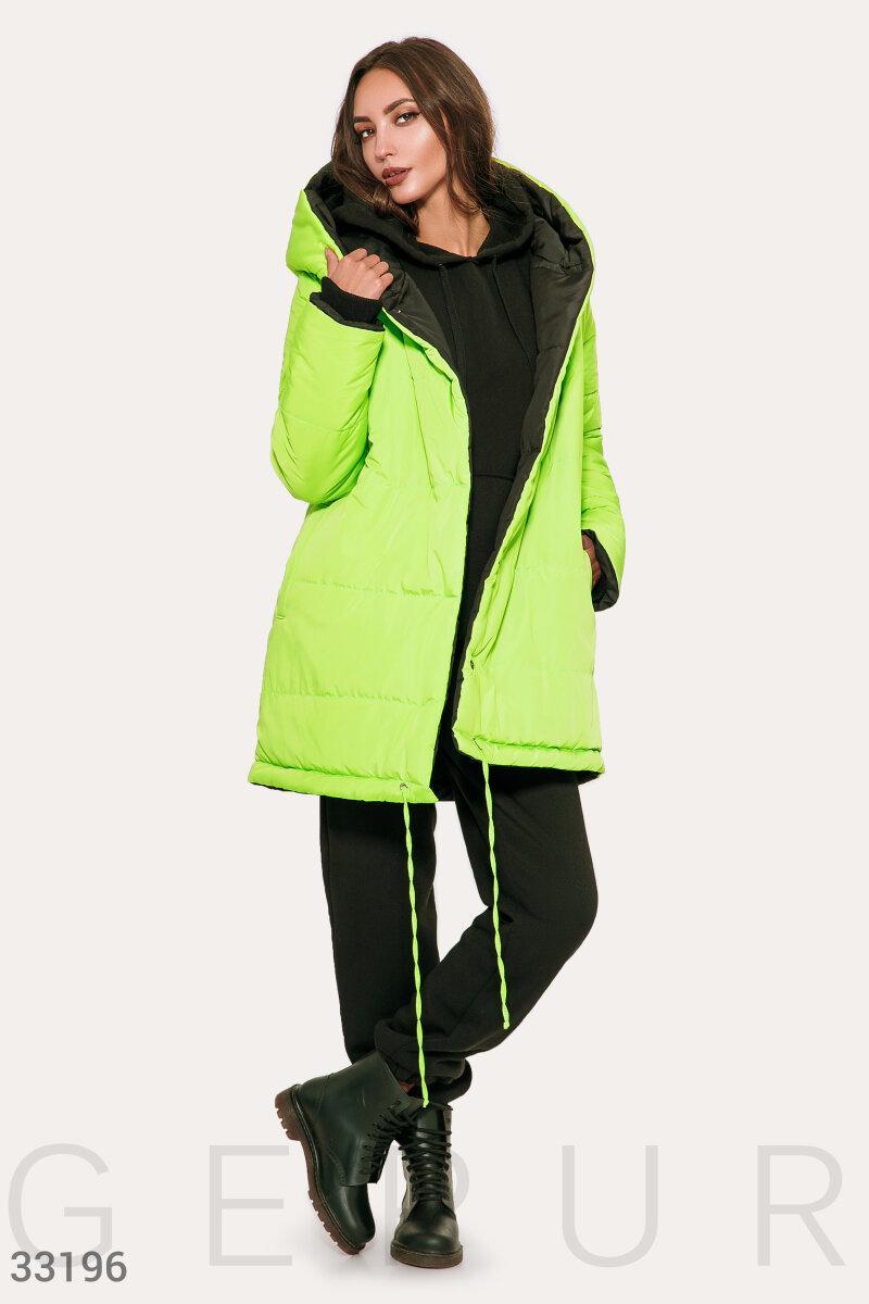 Двусторонняя куртка-oversize на синтепоне салатово-черная