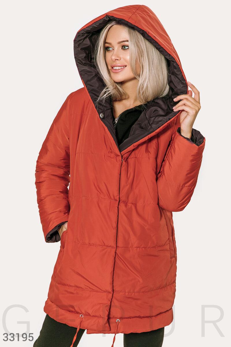 Двусторонняя куртка-oversize на синтепоне красно-черная