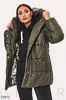 Теплая стеганая куртка с капюшоном хаки