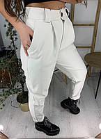 Женские кожаные брюки на завышенной посадке и зауженные к низу 58bil402