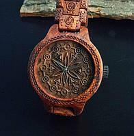 Унікальний дерев'яний годинник з гуцульської символікою. Ручна робота.