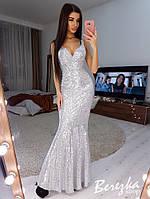 Длинное платье по фигуре из пайеток с верхом на запах и без рукава 66mpl388E