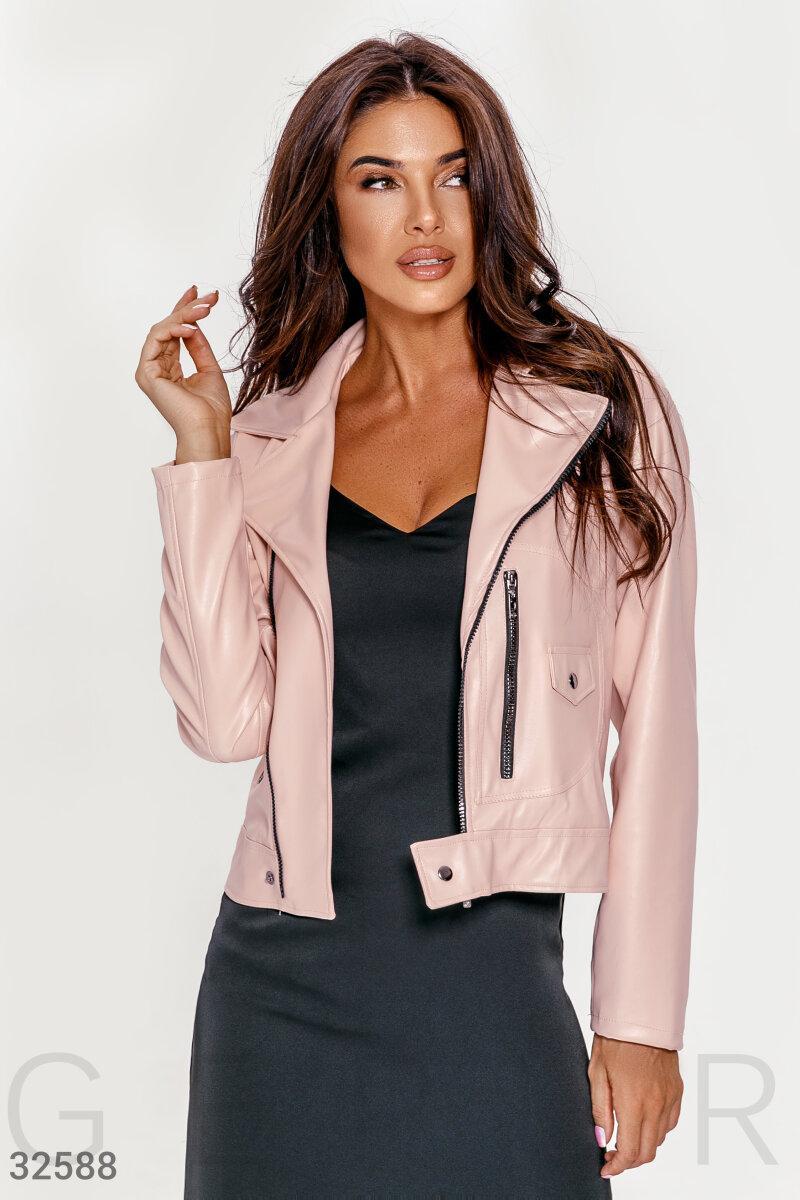 Куртка-косуха из эко-кожи розовая