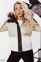 Трехцветная стеганая куртка с капюшоном коричнево-бежевая