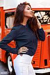 Короткая куртка-бомбер синяя, фото 2