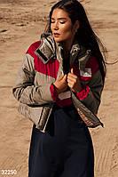 Стеганая короткая куртка бежево-красная