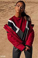 Стеганая короткая куртка красно-черная