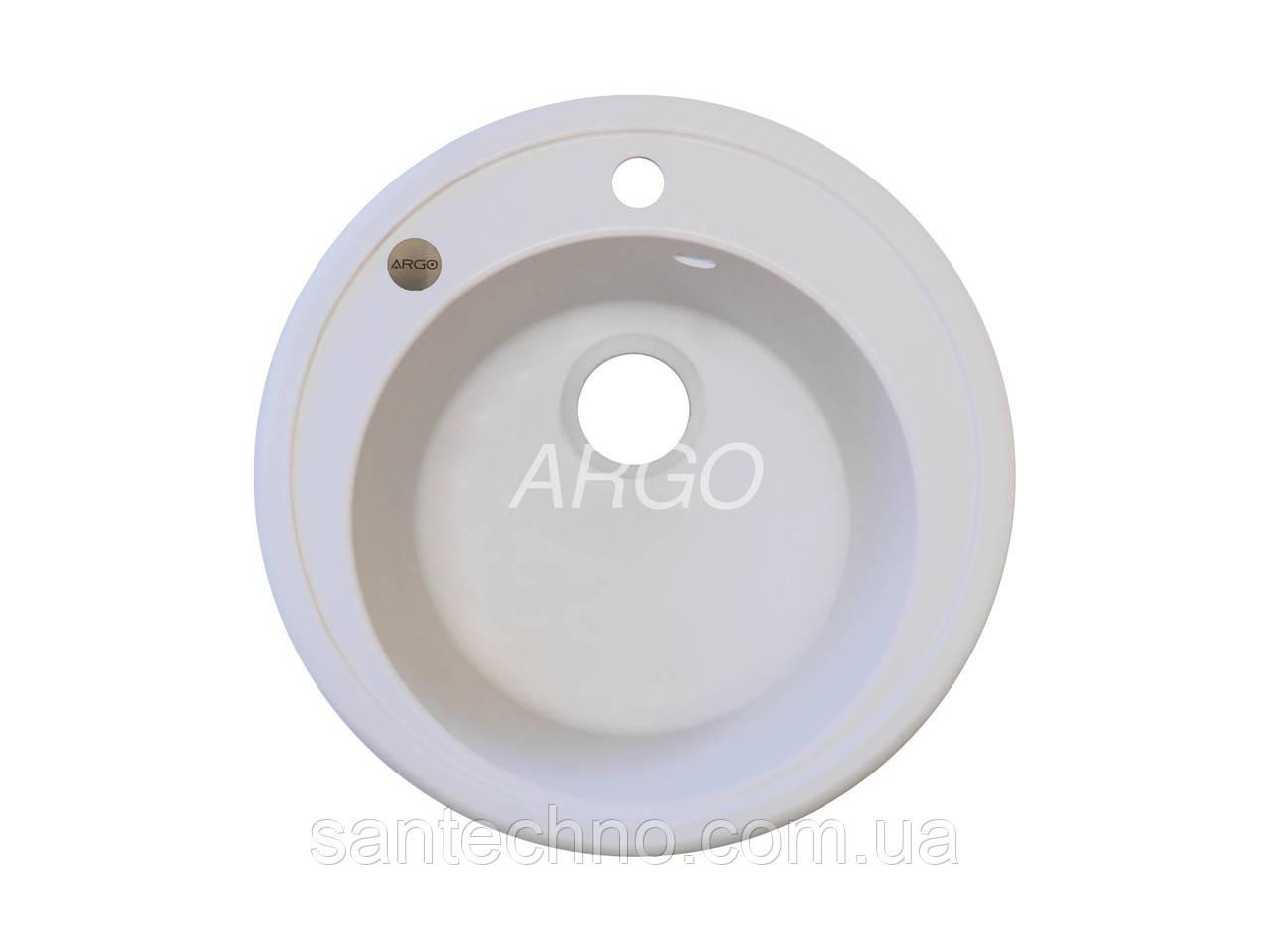 Гранітна біла мийка для кухні Argo Tondo White 510*200