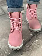 """Женские зимние ботинки Timberland """"Pink с натуральным мехом розовые"""