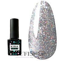Гель-лак Kira Nails Shine Bright №004 - темное серебро с мелкими красными блестками, 6 мл