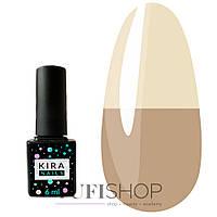 Термо гель-лак Kira Nails Termo №T02 - розово-коричневый, при нагревании кремовый, 6 мл