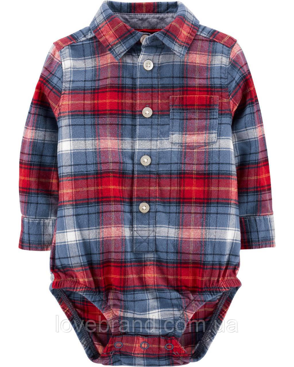 Фланелевая рубашка-боди для мальчика OshKosh (США) красная в клеточку 9 мес/67-72 см