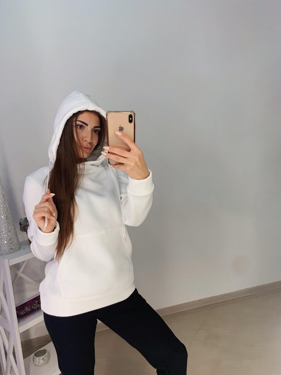 Женское худи на флисе с капюшоном и карманом 11sv770