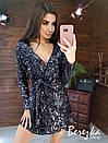 Платье на запах из пайетки на велюре с длинным рукавом и поясом 66py372Q, фото 5