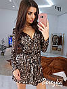 Платье на запах из пайетки на велюре с длинным рукавом и поясом 66py372Q, фото 7