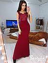 Длинное элегантное платье с кружевным верхом без рукава 66py377Q, фото 6