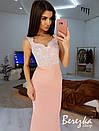 Длинное элегантное платье с кружевным верхом без рукава 66py377Q, фото 7