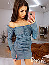 Блестящее короткое платье с открытыми плечами и длинным рукавом фонариком 66py379Q, фото 5