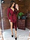 Асимметричное платье с длинным рукавом, с имитацией запаха и с пайеткой 66py382E, фото 3