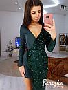 Асимметричное платье с длинным рукавом, с имитацией запаха и с пайеткой 66py382E, фото 5