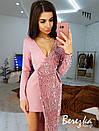Асимметричное платье с длинным рукавом, с имитацией запаха и с пайеткой 66py382E, фото 6