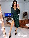 Асимметричное платье с длинным рукавом, с имитацией запаха и с пайеткой 66py382E, фото 8