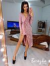Асимметричное платье с длинным рукавом, с имитацией запаха и с пайеткой 66py382E, фото 9