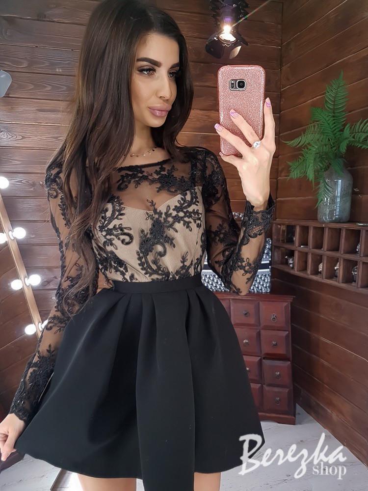 Платье с пышной юбкой и кружевным закрытым верхом с длинным рукавом 66py383E