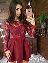 Платье с пышной юбкой и кружевным закрытым верхом с длинным рукавом 66py383E, фото 3