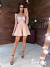 Платье с пышной юбкой и кружевным закрытым верхом с длинным рукавом 66py383E, фото 6